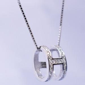 H Carta de Diamante Pingente Colares das mulheres reais real s925 carta de personalidade de prata esterlina H pingente de diamante cadeia pingente gif