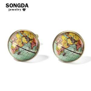 SONGDA Vintage Earth Weltkarte Manschettenknöpfe Globus Planet Kunst Foto Kristall Glaskuppel Hemd Manschettenknöpfe für Männer Personalisierte Gemelos