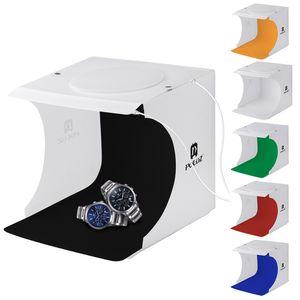 20 centímetros Inclui 2 painéis de LED portátil dobrável 1100LM Luz Foto Iluminação Estúdio Tiro Tent Box Kit com 6 cores Backdrops (preto, branco, ó