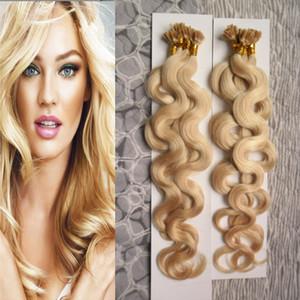 Blonde Hair 200g 1g / strand Двойной вытянутый U-образный наконечник для наращивания волос Keratine Body Wave Pred Bond Keratin Human Hair Extension