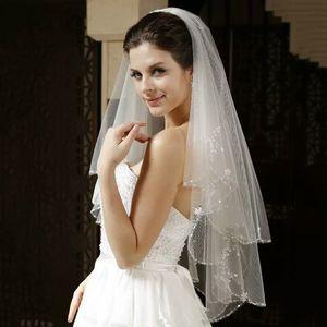 Свадебная фата Bling с Кристалл для невесты два слоя Высококачественная мягкая тюль Фата с кристаллами Короткая многослойная фата дешево