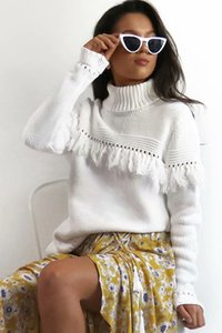 2018090624 White tassel fringe split sexy sweater Women hollow out turtle neck casual jumper Winter clothes party pullover sweater