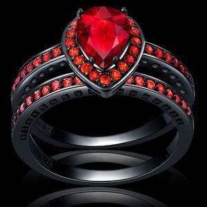 Gros-Victoria Wieck Real Solitaire Topaze simulé diamant goutte d'eau rubis rouge Femmes mariage couple bague Set Fiançailles Bague Sz 6-10