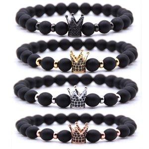 4 Farbe Schwarz 8mm Perlen Naturstein Armbänder Healing Balancen-Energie-Crown-Armband für Männer Frauen Stretch Yoga Schmuck Geburtstags-Geschenk H802F