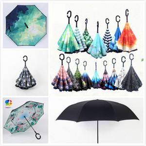 Refugio de Rain Floral estampado geométrico Graffiti impreso Protección UV de doble capa Big C-Hook Mango Reverse Umbrella Sunny Sunshade