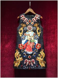 Design della pista di lusso delle donne o-collo senza maniche Madonna stampa fiore di strass gemma di cristallo che borda un vestito dal carro armato del jacquard vestidos