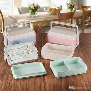 Três Camadas Aluno Caixa de Almoço Ao Ar Livre Conveniente Trigo Tronco Recipientes De Armazenamento De Alimentos Proteção Ambiental Sushi Case Estilo Fresco 15 d