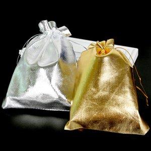 100 pezzi di gioielli regolabili imballaggio argento oro coulisse sacchetto di velluto sacchetto di organza estraibile regalo di nozze di natale sacchetto di gioielli regalo di natale