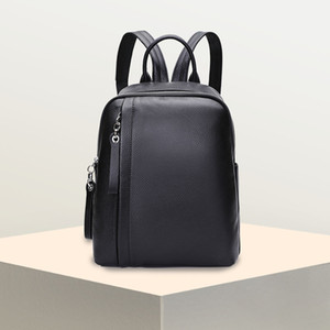 PASTE Genuine Leather  Backpack for Women Cowhide Girl Teenager School Bag for Laptop Female Knapsack Black