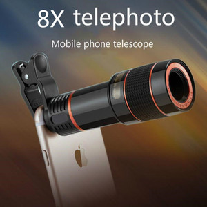 Universal Clip 8X 12X Zoom Teléfono móvil Telescopio Teleobjetivo Teléfono inteligente externo Lente de la cámara para Galaxy S9 iPhone X S8 Nota 8