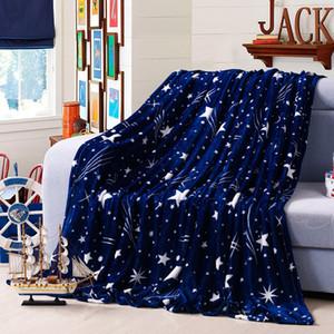 Couverture de couvre-lit 200 * 230cm étoiles de voyage brillantes, haute densité, couverture en flanelle ultra-douce pour le canapé / lit / voiture Plaids portables