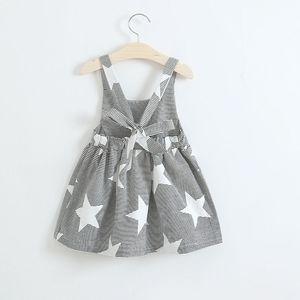 Bebek Kız Ay Bulutları Güneş Yıldızı Baskı Elbise Ins Çocuk Şerit Backless Prenses Elbiseler 2018 Yaz Çocuk Giyim 3 Stilleri C3961