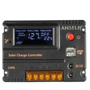 Freeshipping LCD Ekran 20A Solar Şarj Regülatörü Paneli Akü Regülatörü Otomatik Anahtarı Aşırı Yük Koruması Sıcaklık Telafisi 12 V / 24 V