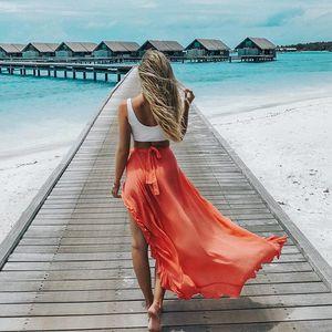 Gonna a vita alta a vita bassa delle donne della spiaggia di stile Boho 2018 estate ruffles avvolgere maxi gonne lunghe festa festa gonne asimmetriche