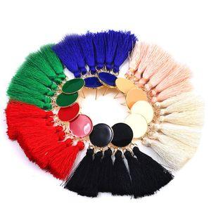 Etnico Boho lungo in cotone nappa orecchini ciondola orecchino con frange goccia per le donne esagerato tassle orecchini orecchio gioielli regalo