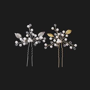 Prata Ouro Deixa Handmade Nupcial Grampos de Cabelo Pérolas De Cristal Acessórios Do Casamento Para A Noiva Do Vintage Pin U braçadeira Casamento Headpieces Updo