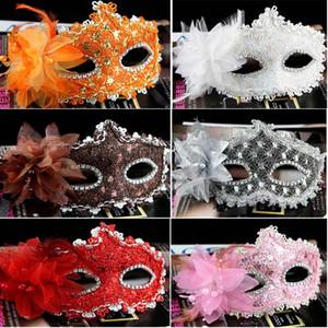 Çiçekler Ile dantel Tüy Maske Cadılar Bayramı Noel Maskeleri Masquerade Kızlar Kadınlar Parti Kostüm Düğün Gelinlik Maske WX9-897
