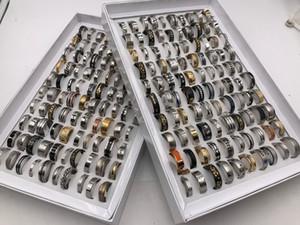 Atacado 50 pçs / lote Mens Estilo Misto de Aço Inoxidável de titânio anéis de jóias de aço para a festa de casamento presente anéis