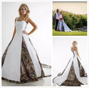 New Plus Size Camouflage Ball Gown Wedding Dresses White Straps Appliques Country Camo Wedding Dresses Bridal Gowns Sweep Train