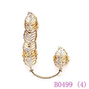 3 pcs Venda Quente Mulheres Chique Anéis Definir Ouro Prata Inlay Rhinestone Deixa Anel Ajustável Jóias Partido Conectar 2 Anéis de Dedo B0499