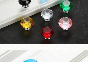 25 teile / satz 30mm Diamant Form Design Kristallglas Knöpfe Schrank Pulls Schublade Knöpfe Küchenschrank Griffe Möbel Griff Hardware