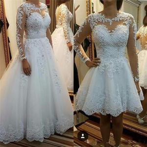 Robes de mariée jupe détachable 2018 Robe De Noiva De Renda Illusion Robes de mariée à manches longues avec Appliques en dentelle