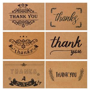 Rétro papier Kraft Carte de remerciements repliements Couronne Imprimer Gratitude Cartes de voeux de mariage Handwriting fête d'anniversaire de Flower Shop 0 7DN
