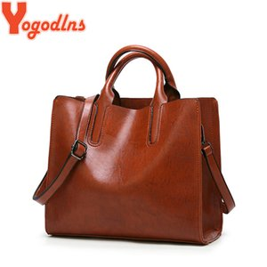 Yogodlns PU Leather Large vintage Handbags Women Purse Shopper Totes sac a main solid Fashion Shoulder Bag