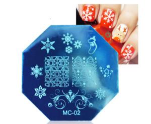Tema de natal Prego Carimbar Placas De Aço Inoxidável Xmas Floco De Neve Projetos Unhas Template Art Imagem Placa Manicure Ferramentas
