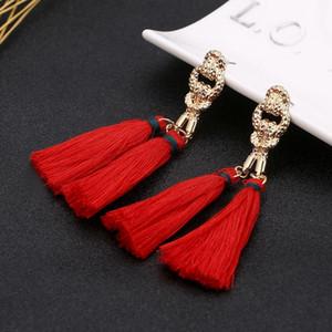 Bohemian Kırmızı Uzun Püskül Küpe El Yapımı Damlalar Kadınlar Için Bildirimi Küpe Dangle Küpe Moda Takı Mrs win