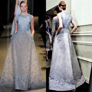 Elie Saab 2019 Neue Abendkleider Hellblau Eine Linie Juwel Hals Formale Abendkleid Spitze Applizierte Perlen Party Kleider