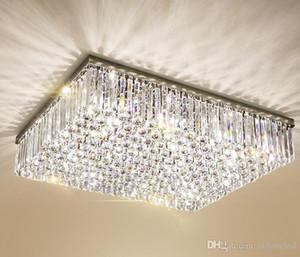 Zeitgenössische quadratische Kristallleuchter K9 Kristalldeckenleuchten Luxus Unterputz LED Kristall Licht Lüster De Cristal für Wohnzimmer