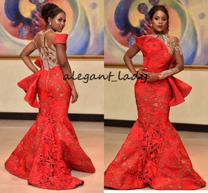 Aso Ebi Red Lace Mermaid Evening Formal Dresses with Long Sleeve 2018 Modest Jewel Plus Size African Nigerian Trumpet Peplum Prom Gown