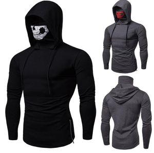 Maske Schädel-Entwurf Menshoodies-dünne mit Kapuze Sweatshirts Solid Color Bluse Sudaderas Para Jogger GYM Hoodies Hommes Tops