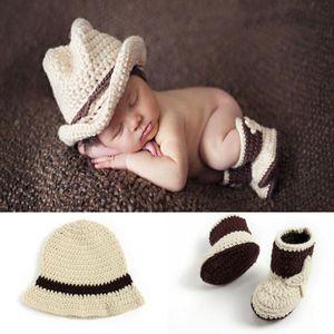 Nouveau-né Bébé Garçon Cowboy Style À La Main Crochet Photographie Tenues Accessoires Props Bébé Bonnets Séance Photo Props Costume