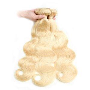 새로운 도착 100 % 9A 금발 613 # 러시아어 브라질 버진 헤어 바디 웨이브 Human Hair Weaves 3 번들 300G Lot For Head