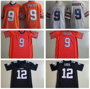 فيلم Waterboy آدم ساندلر 9 Bobby Boucher Jerseys كرة القدم فيلم Orange White High School Houston Stratford 12 Andrew Andrew Luck Black Stitch