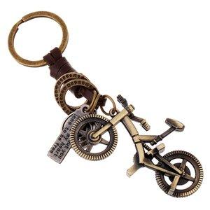 Yeni Yaratıcı Tasarım El yapımı Metal Mini Bisiklet Anahtarlık Vintage Gerçek Deri Örgülü Anahtar Yüzükler Moda Aksesuarları Çanta Dekorasyon Hediye