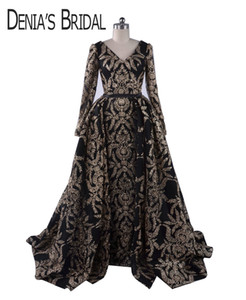 2018 Black Glitter Celebrity Dresses Sheath V Neck Long Sleeved Split Gowns with Detachable Puffy Ball Gown Overskirt Evening Formal Gowns