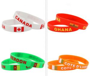 47 País Rusia World Cup pulseras de silicona con banderas nacionales deportes Muñequera Fútbol Fans Pulsera de Silicona Regalo de Recuerdo
