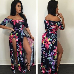 S3074 Europe and the United States selling three color large size women's S-3XL digital printing Siamese split dress