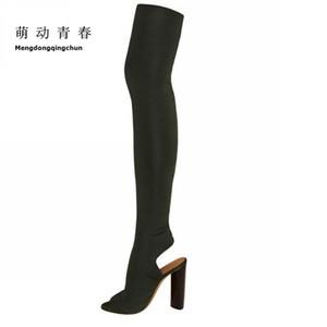Bottes d'été 2017 sur le genou Bottes femmes Chaussures printemps été long Cuissardes Botas Femme Bootie Sapatos