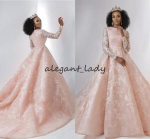 Blush Pink Lace Abiti da sposa con manica lunga 2018 Modest High Neck musulmano Dubai Arabian African African Princess Wedding Dress