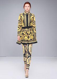Femmes Femmes Ensembles Chemise vintage Chemisier imprimé Jupe élastique Leggings Costumes pantalon à manches longues en gros Casual Runway Printemps Été Automne