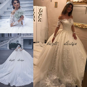 2018 Boat Neck Wedding Ball Gowns Fancy Long Sleeve Lace Wedding Dresses Lace Cathedral Train Church Castle Elegance Bridal Wedding Dresses