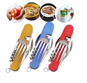 Portable 3 in 1 Folding Tableware Stainless Steel Spoon Fork Knife Multifunction Tool for Outdoor Camping Cutlery Dinnerware 2 Pieces Set