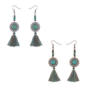Orecchini Tassel Blue Green Rustic Teardrop Round Moon Irregolare Geometric Silk Fringe Orecchini nappa Charm Boho Jewelry