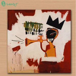 Jean Michel Basquiat ''Trumpet High quality Handpainted &HD Print Home Decor Graffiti Wall Art Oil Painting On Canvas.Multi size g53