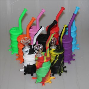 Portable Hookah Silicone Barrel Rigs for Smoking Dry Herb Unbreakable Water Percolator Bong Smoking Oil Concentrate Pipe DHL