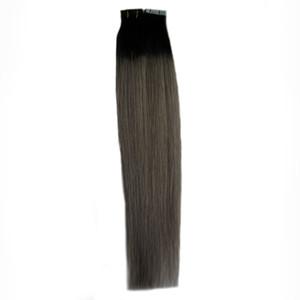 Ruban dans Extensions de cheveux humains Remy 100G Seamless Skin Weft 7a extension de bande de cheveux gris bande 40PCS extension de bande gris argent
